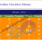 Asp.net Calendar (Takvim) Kontrolüne Checkbox Ekleme