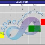 Asp.Net Canlendar (Takvim) Kontrolünde Günleri Farklı Renklerde Gösterme
